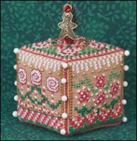 JN277 Gingerbread Garden Cube shown with Gingerbread Holly Man Pin